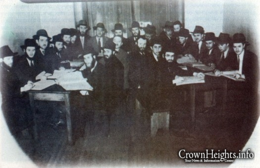 Reb Aharon (center) in yeshiva Montreal.