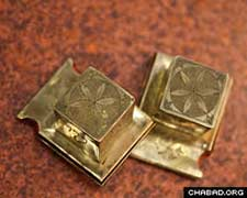 Solid gold tefillin boxes made in 18th century Germany.