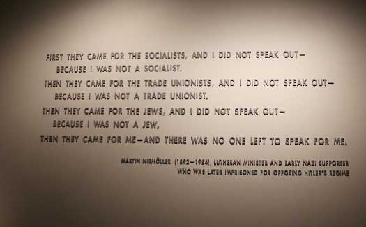 """First they came"" – Martin Niemoller"