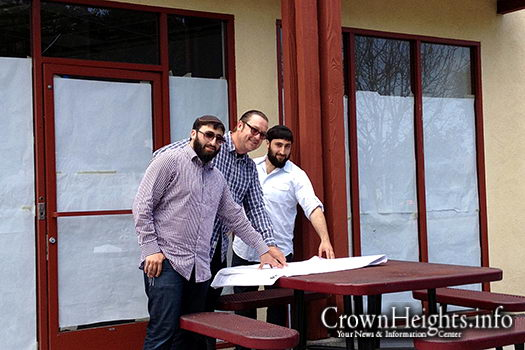 Levi Chayo, Chip Herwegh and Abe Chayo in front of Redondo Beach's first kosher restaurant.