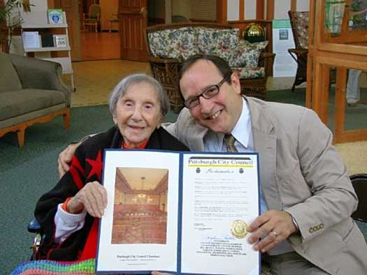 Mrs. Evelyn Kozak, at her 110th birthday, was declared by Pittsburgh City Council President Doug Shields the oldest Pittsburger.