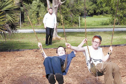Yisroel Taub (left), 10, from Pittsburgh, and Menacham Krinsky, 12, from Hillsborough, N.J., have fun at Tzeirei Hashluchim, a Jewish camp held in December at the new South Florida Jewish Retreat Center in Lake Worth.