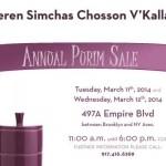 Tuesday: Annual KSCVK Purim Sale