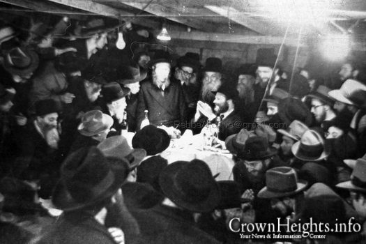 The Rebbe farbrengs on Purim, 1953.