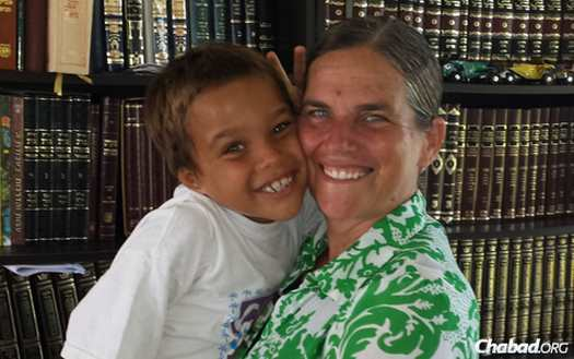 Naomi Burn and her 7-year-old son Khalil Elijah, who experienced his very first Passover seder last week in Mexico.