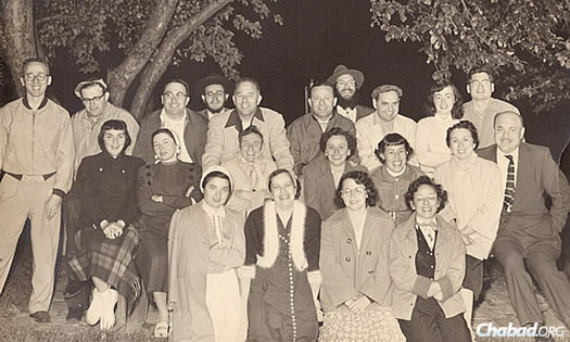 Celebrating the holiday of Lag BaOmer in 1958 with friends.