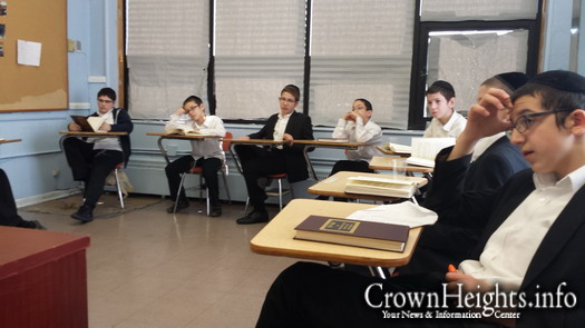 File photo: Cheder at the Ohel's 8th grade class.