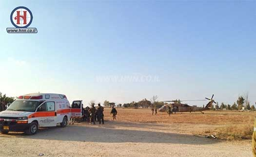 IDF and MDA forces evacuating those injured in the mortar attack in the Eshkol Region.