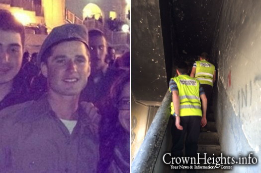 Left: David Menachem Gordon. Right: Volunteers searching Tuesday for the missing soldier.