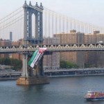 Giant Palestinian Flag Hung from Manhattan Bridge