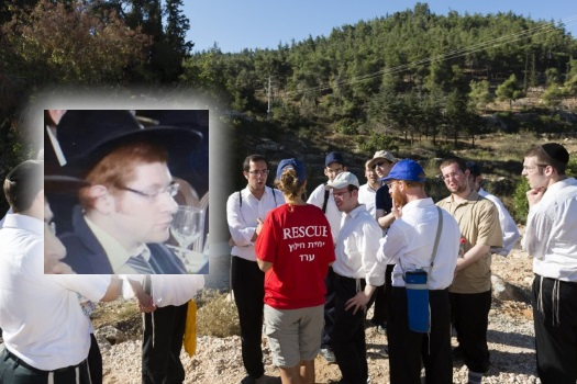 Police and Border Patrol officers together with voluneers continue the search for missing Yeshiva student, Aharon Sofer (inset), around the Jerusalem Forest. Photo: Flash 90 / VIN News.