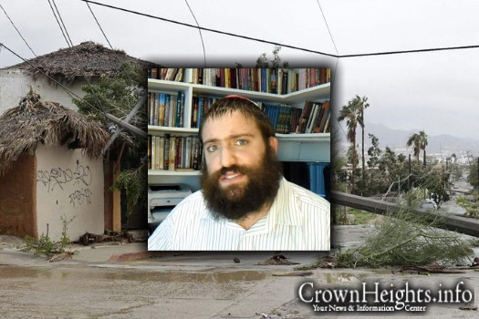The aftermath of Hurricane Odile in Cabo, Mexico. Inset: Rabbi Benny Hershcovich.
