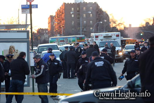 Police at the crime scene on Empire Blvd. and Utica Ave.