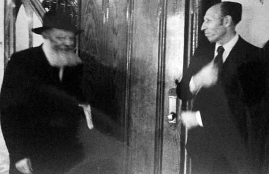 The Rebbe and Lieutenant Abraham Kushner.
