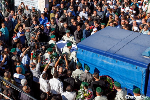 Thousands attended the funeral of slain Israeli Border Police officer Jedan Assad, in the northern Druze village of Beit Jann. (Photo: Flash90)