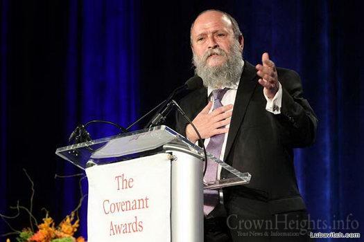 Rabbi Yisroel Baruch Sufrin, principal of Harkham Hillel Hebrew Academy in Beverly Hills, California, speaking at the awards ceremony in Washington, DC.