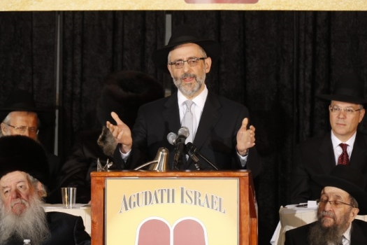Rabbi Chaim Dovid Zwiebel addressing the convention Nov. 15, 2014.