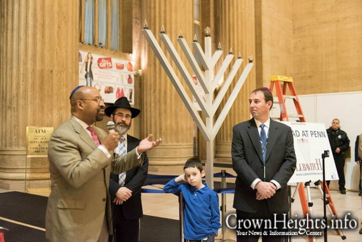 Public Menorah lighting at Philadelphia's 30th Street Station with Mayor Michael Nutter.