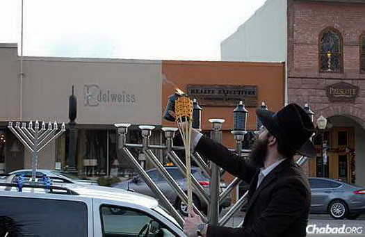 The first-ever public menorah-lighting in Prescott—and perhaps the first-ever car menorah, too.