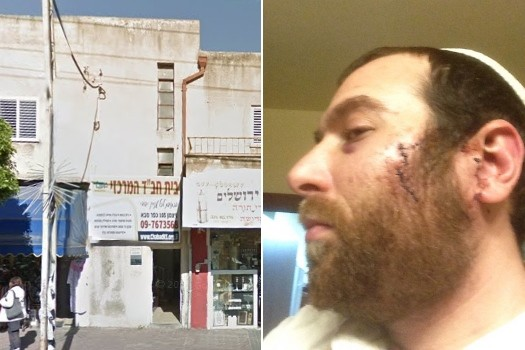 Eldar Hughes (right) was attacked in front of the Chabad House in Kfar Saba (left).