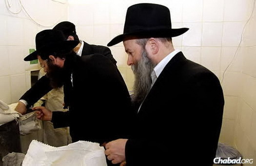 Rabbi Ashkenazi's son and successor as chief rabbi of Kfar Chabad, Rabbi Meir Ashkenazi, inspects the flour, as Kaminezki looks on.