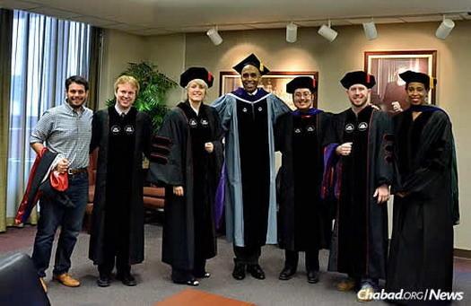 From left, Benjamin Cohen-Kurzrock, Chuck Hooten, LaDelle Davenport, University of Houston Law Center dean Leonard M. Baynes, Hutchinson, Michael Ryan and associate dean of student affairs Sondra Tennessee.