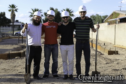 Pictured at the April groundbreaking for the new Chabad at the University of Arizona facility are, from left, Rabbi Yossi Winner, Rony Mishiyev, Mat Friedman and Oren Lee.