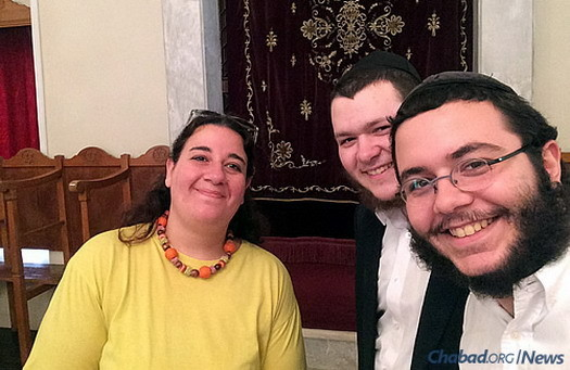 "The ""Roving Rabbis"" with a local resident in the synagogue of Larissa, which serves a community that has been in place for more than 2,000 years."