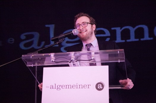 Algemeiner Editor-in-Chief Dovid Efune addresses the gathering. Photo: Sarah Rogers.