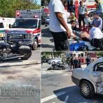 Motorcyclist Critically Injured after Slamming into Car