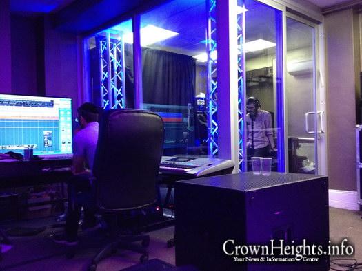 Eli Marcus recording in studio.