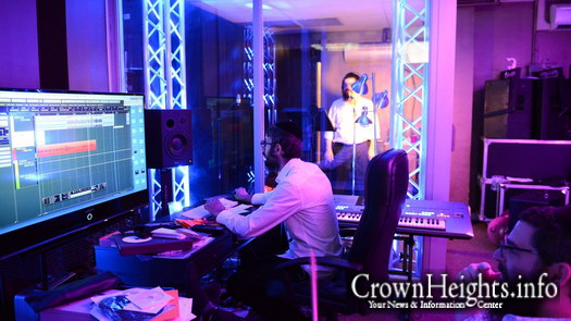 Benny Friedman recording in studio.