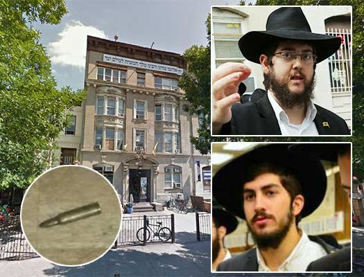 The infamous 749 Eastern Parkway dormitory. Inset Top: Yonah Shifren. Inset Bottom: Yossef Nachum.