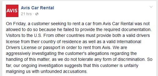 Avis's first facebook post - which has since been deleted.