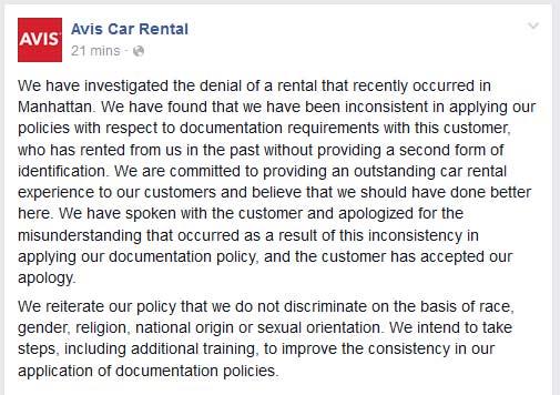 Avis Apologizes for Misunderstanding in Rental Denial to Israeli