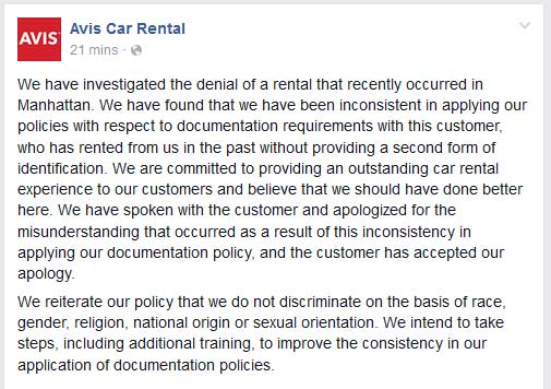 Avis's apology post.
