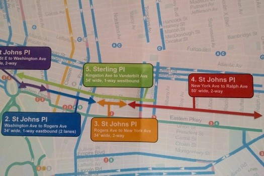 Map provided by the Department of Transportation showing the direction and location of proposed bike lanes in Prospect Heights and Crown Heights. Photo: DNAinfo.