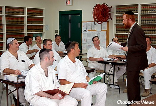 Rabbi Dovid Goldstein leads a shiur in the Jewish-enhanced program at the Stringfellow Unit, a Texas Department of Criminal Justice prison located in Rosharon, Brazoria County, Texas.