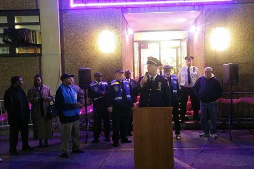 Captain Norman Grandstaff speaking at a vigil outside the 69th Precinct.