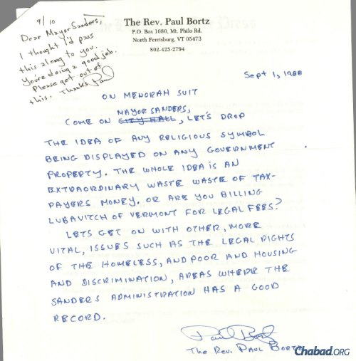A 1988 letter from Reverend Paul Bortz condemning Sanders for his efforts in the menorah case. Credit: 21/30, Bernard Sanders Papers, Special Collections, University of Vermont Library.