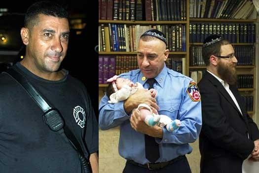 Joseph Scaramuzzino holds 5-week-old Raizel, youngest child of Zalman Friedman (r.), whom the firefighter saved in 2002.