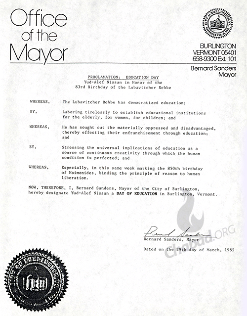 Mayor Bernard Sanders proclaims the Rebbe's birthday as a Day of Education in Burlington Vermont in 1985. Credit: 39/36, Bernard Sanders Papers, Special Collections, University of Vermont Library.