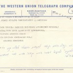 A Purim Telegram in 1962