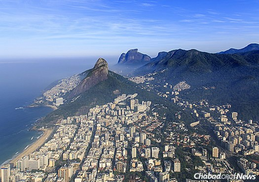 An aerial view of the upscale Leblon neighborhood, where the central Beit Lubavitch Rio De Janeiro is located.