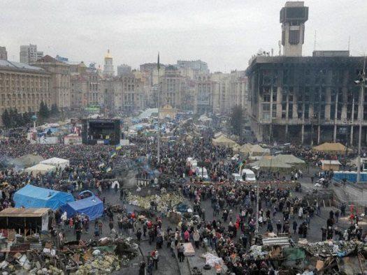 Scene of civil war-torn Lugansk, Ukraine.
