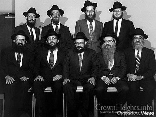 At a gathering of area Chabad-Lubavitch shluchim. Seated, from left: Rabbi Gershon Grossbaum, Rabbi Moshe Kasowitz, Rabbi Moshe Feller, Rabbi Manis Friedman and Rabbi Shlomo Bendet. Standing, from left: Rabbi Yosef Shagalow, Rabbi Mendy Lew, Rabbi Mendel Katzman and Rabbi Dovid Greene.