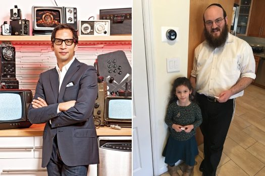 Left: Cliqk Founder Mark Hernandez. Right: Lead Smart Shabbos Developer Rabbi Shmary Gurary with his daughter.