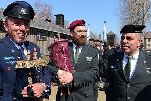 Rabbi Shraga Dahan (Center), with IDF Chief Rabbis attending a memorial event at the Auschwitz concentration camp. Photo: Israel Bardugo