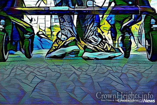 "An artistic image of Finkelstein rolling through the Miami Marathon in her orthotics and ""Gait Trainer."" (Photo: Mike Seeley)"