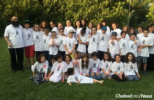 Kids at Camp Gan Israel in 2014 near Lake Balaton in Hungary.